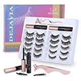 Magnetic Eyelashes with Eyeliner Kit- 10 Pairs Premium 3D Natural Look Reusable Eyelashes with Tweezers Applicator, Strong Magnetic Eyeliner and Lashes Set by DEJAVIA, No Glue Needed