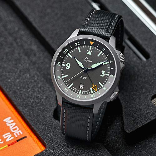 Sondermodell Fliegeruhr Frankfurt GMT Schwarz von Laco – Made in Germany – 43 mm Ø hochwertige Automatikuhr – Einzigartige Qualität. Herausragende Verarbeitung – 20 ATM wasserdicht – seit 1925