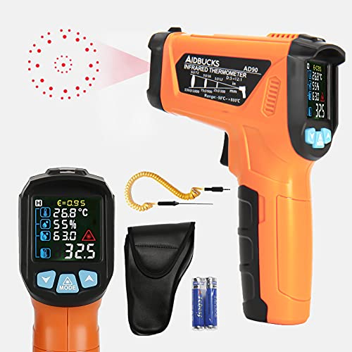Thermomètre Infrarouge Temperature Laser AIDBUCKS AD90 Cuisine Interieur Mesure l'humidité ambiante température du point de rosée Temperature -50℃ à 800℃ avec sonde K,Température Alarme Francais PDF