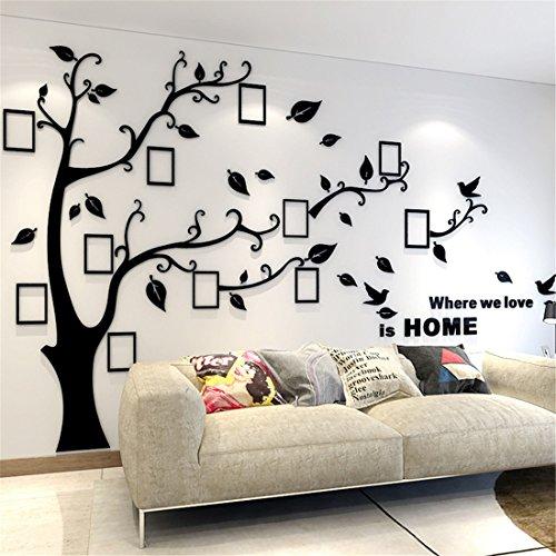 Wandtattoo Baum 3D DIY Wandaufkleber Sticker mit Bilderrahmen Foto Baum Wandsticker Wanddeko Deko für Hause Kinderzimmer Wohnzimmer Schlafzimmer(XL: 200 * 276CM,Schwarz Rechts)