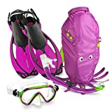 Mares Italian Collection Premium Youth Sea Pals Character Kids Mask Fin Snorkel Set Snorkeling Gear - Ultra-Clear Tempered Glass Lens Snorkeling Set (Purple, Large/1-4)