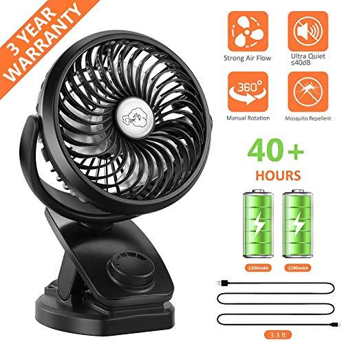 Fitfirst 5000mAh mini USB stufenlos schalten Tischventilator wiederaufladbar Ventilator zum Anklipsen Clip Fan mit 360°drehbare leise für Schlafzimmer Büro Kinderwagen Auto Camping (Schwarz)