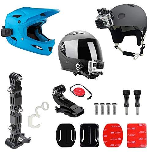 gopro frontale per casco + Kit laterale, include fibbia a gancio a J, clip rapida, 3m adesivi. Compatibile con Gopro Hero 8, 7, 6, 5, 4, 3, 2, session, Apeman, Crosstour, Victure, akaso, campark
