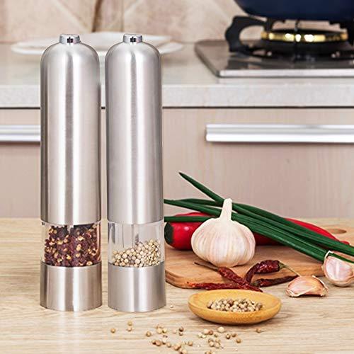 MorNon 2STK Gewürzmühlen Set Salz Pfeffermühle Elektrische Edelstahlbatterie Einstellbar Salz Und Pfeffermühle Pfeffer Und Salzmühle