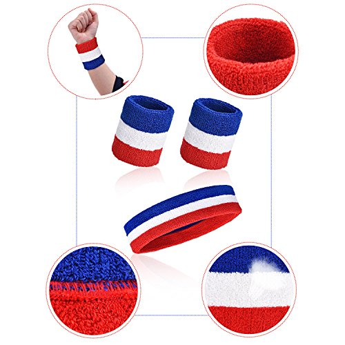 WILLBOND-3-Pieces-Sweatbands-Set-Includes-Sports-Headband-and-Wrist-Sweatbands-Cotton-Striped-Sweat-Band-for-Athletic-Men-and-Women-Red-White-and-Blue