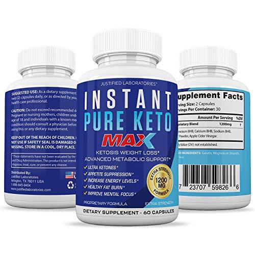 Instant Pure Keto Pills Max 1200MG Keto Pills Advanced BHB Ketogenic Supplement Exogenous Ketones Ketosis for Men Women 60 Capsules 1 Bottle 3