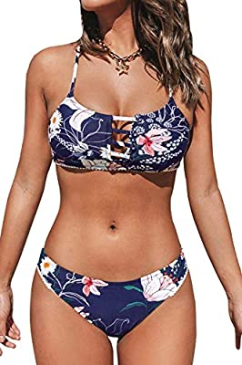 Design: Strappy Details at Center Front and a Flirty Cutout with Decorative Buttons. Low Rise Bikini Bottom with Cheeky Coverage. About Cup Style: Removable Pads. The pattern is one of a kind - The exact pattern you receive will be slightly different...