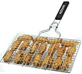 AIZOAM Portable Stainless Steel BBQ Barbecue Grilling Basket for Fish,Vegetables, Shrimp,and Small...