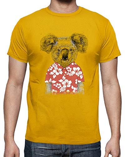 latostadora - Camiseta Koala de Verano para Hombre Amarillo Mostaza XL