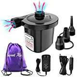 Electric Air Pump, 110V AC/12V DC Portable Air Mattress Pump Two-Way Universal Inflator Electric Pump for Inflatables Pool, Airbeds, etc with 3 Nozzles and 1 Storage Bag