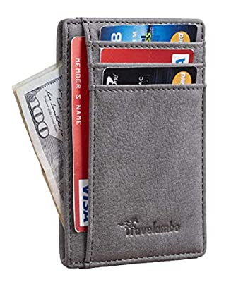 """SUPER MINIMALIST & SLIM: only 0.12"""" thick, sizing 3.3"""" X 4.1"""" X 0.12"""" extremely convenient to be carried around in your front or back pocket. 100% GENUINE LEATHER: soft and durable. RFID BLOCKING TESTED & APPROVED BY INDEPENDENT LAB TESTS. Our wallet..."""