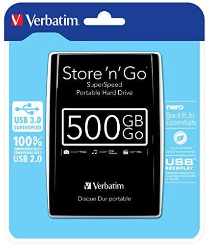 Verbatim Store 'N' Go - Hard Disk Esterno Portatile, USB 3.0, Nero, 500 GB