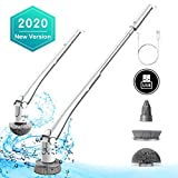 GOOD PAPA Floor Scrubber Machine with Brushes, Cordless Spin Brush with Adjustable Extension Handel and 3 Replaceable Durable Brush Heads for Tub,Tile,Toilet,Cooktop, 45kgf.cm Torque