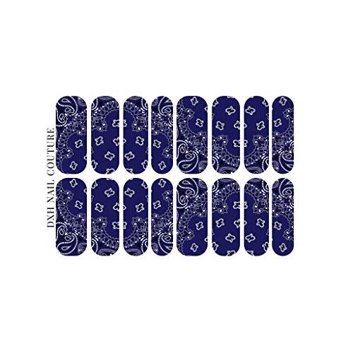 DIME X HER Classic Navy Blue Bandana XL Nail Wraps Waterslide Decal Paisley Nail Art Trending Nail Designs