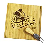 Personalized Engraved Cheese Board Tray and Knife Tools Set - Custom Monogrammed