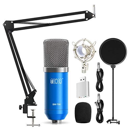 TONOR Microphone à Condensateur Podcasting Studio Enregistrement pour Ordinateur avec Microphone Réglable Suspension Perche Ciseaux Bras Microphone Kits