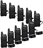 Retevis RT22 Walkie Talkies Rechargeable,Long Range Two Way Radio,2 Way Radio for Adults, Handsfree VOX Mini, for Business Office School Church Restaurant Retail(Black,10 Pack)