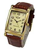 Mens classic dress watch Vintage retro styling with gold plated case Precision Japanese Quartz movement Stitched soft padded leather brown strap 245mm long incl. buckle Case size 29mm x 39mm