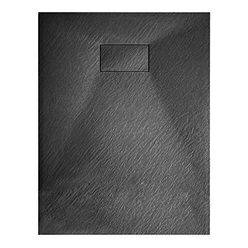 Duschtasse Duschwanne rechteckig GT-Serie aus SMC in Schwarz - Breite 90 cm - Länge und Zubehör wählbar, Ablaufgarnitur:Ohne Ablaufgarnitur, Maße Duschwanne:90x120cm