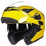ILM Motorcycle Dual Visor Flip up Modular Full Face Helmet DOT 6 Colors (M, YELLOW)