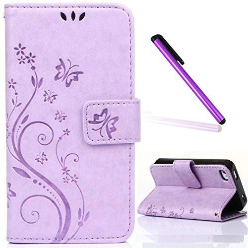 iPhone 4 Case,iPhone 4S Case,EMAXELER Embossing Stylish Wallet Case [Kickstand Flip Case][Credit Cards Slot][Cash Pockets] Cool PU Leather Flip Wallet Case iPhone 4/4S Color Light Purple