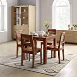 SIDDH FURNITURE Sheesham Wood 4 Seater Dining Table Set with Cushioned Chairs for Living Room   Dining Table 4 Seater with Chairs (Large, Honey)