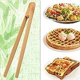 Toaster tongs, toast tongs, Made of pure natural bamboo, no paint coating, strong grip (1pcs)