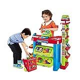 deAO Supermarktstand mit Einkaufswagen& Lebensmitteln für Kinder