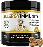 PetHonesty Allergy Immunity Supplement for Dogs - Omega 3 Salmon Fish Oil, Colostrum, Digestive Prebiotics & Probiotics - for Seasonal Allergies + Anti Itch, Skin Hot Spots Soft Chews (Salmon)