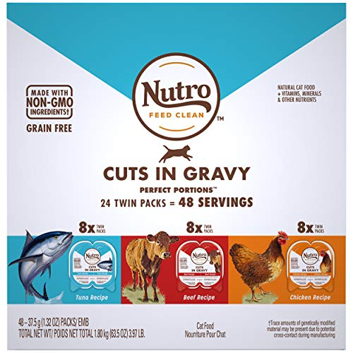 NUTRO PERFECT PORTIONS Grain Free Cuts in Gravy Adult Wet Cat Food Variety Pack: Beef, Tuna, Chicken  24, 2.64 oz. Twin-Pack Trays
