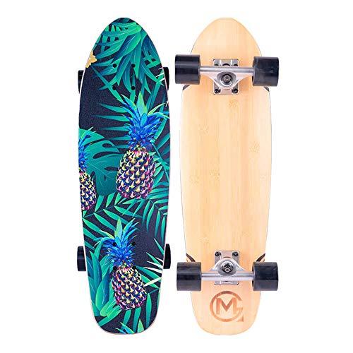 Pineapple Complete 28' Mini Cruiser Skateboard, 7 Ply Canadian Maple Deck Double Kick Skate Boards...