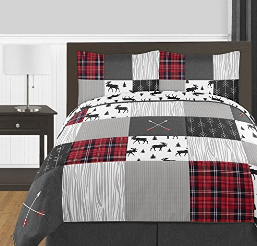 Candy Jojo Designs Gray, Black and Purple Woodland Plaid and Arrow Rustic Patch Boy Full/Queen Child Teen Bedding Comforter Set three Items – Flannel Moose Grey