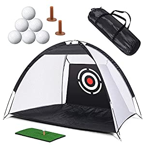 Safely Practice: Wide-opened tent, collects all hitting balls onto the golf net. Catch and ball return design stops the balls at the base of the net for easy clean up. Heavy-Duty Target: Large target for golfers to practice swing and hitting ,improve...