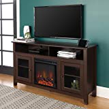 Walker Edison Glenwood Rustic Farmhouse Glass Door Highboy Fireplace TV Stand for TVs up to 65 Inches, 58 Inch, Espresso