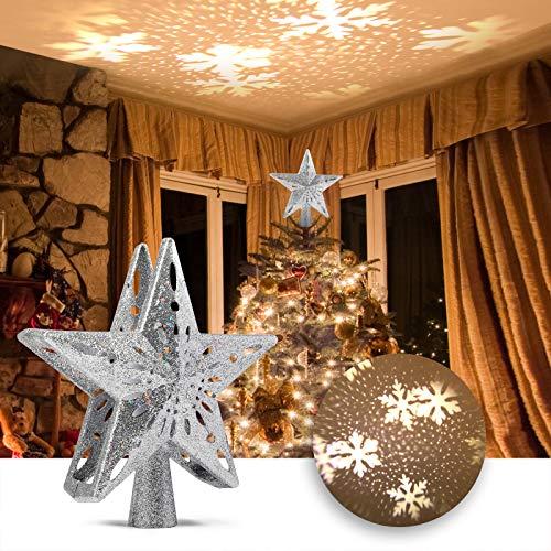Árbol de Navidad Top Estrella Proyector, Delicacy LED Navidad Proyector Luz, Nieve Copo Navidad Árbol Proyector, para Navidad, Vacaciones, Fiesta, Cine en Casa, Decoraciones Interiores, Regalo - Plata