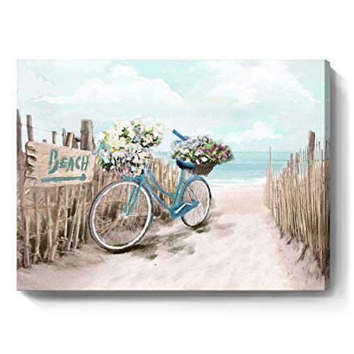 Beach Canvas Wall Art for Bathroom Ocean Pictures Seaside Bicycle...