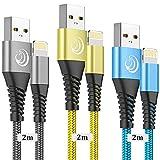 Câble iPhone Chargeur Cable [2m/Lot de 3] Lightning Cable MFi Certifié Nylon...