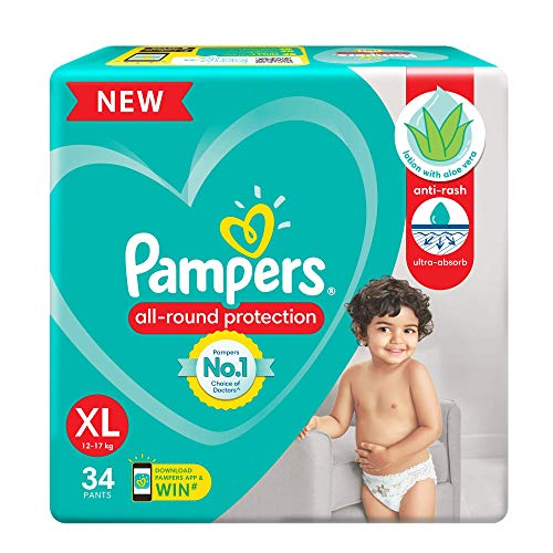 Pampers All round Protection Pants, Extra Large size baby diapers (XL) 34 Count, Lotion with Aloe...