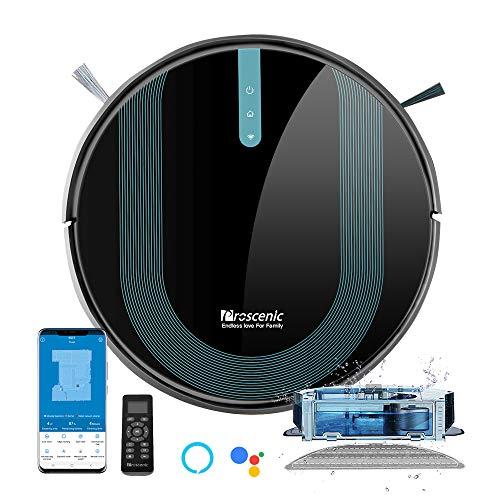 Proscenic 850T Aspirateur Robot, Aspirateur et Laveur de Sol 2 EN 1, Super Aspiration 3000Pa, Débit d'Aau Réglable, Contrôle Avec Alexa/App, Idéal pour le Poils d'Animaux/Cheveux/Poussière/Laveur