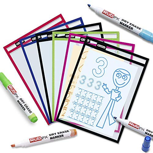 Rubex Dry Erase Pockets, Dry Erase Sleeves, Plastic Sleeves, Reusable Sheet Protectors, Job Ticket Holders, Assorted Colors Sheets, Job - Classroom - School Supplies, Oversized 10 x 13 Inches 6 Count
