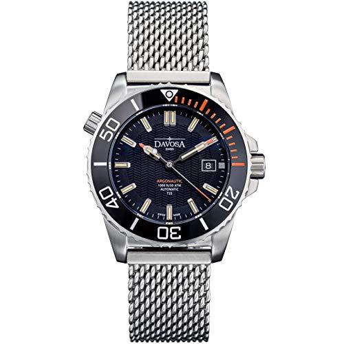 Davosa Herren-Automatik-Armbanduhr, professionell, analog, argonautische Lumis, mit Tritium Leuchtend Black, Orange Mesh