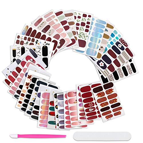 30 Sheets Random Style Nail Polish Strips & Toenail Strips Set Solid Color Gel Nail Stickers Self-Adhesive Fake Nails Art Decal Street Design Nail Wraps Manicure with Nail File Pusher for Women Girls