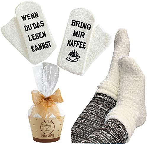 Lucadeau Socken mit Kaffee Spruch auf der Sohle WENN DU DAS LESEN KANNST, BRING MIR KAFFEE Geschenk...