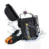 lafagiet USB wiederaufladbares Feuerzeug, wasserdicht, Dual Arc Feuerzeuge für Camping, Wandern, Outdoor Survival Kits (F13-Schwarz)