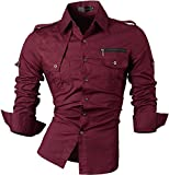 jeansian Men's Slim Long Sleeves Casual Button Down Dress Shirt 8371 WineRed M