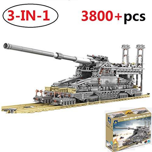 PEXL Technik Panzer Bausteine 3-IN-1 Bausatz, 1:72 Dora-Kanone WW2 Militär Panzer Modell, 3800 Klemmbausteine und 8 Minifiguren, Kompatibel mit Lego