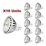 Xpeoo Pack de 10 unités 6W LED MR16 GU5.3 lumière du jour Ampoule...