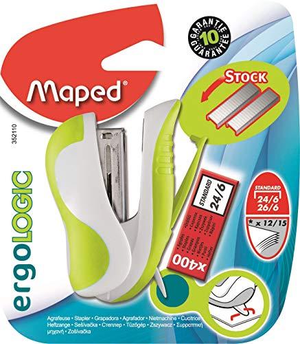 Maped Ergologic - Mini cucitrice per punti 24/6 o 26/6, con riserva di punti e graffette integrati, con scatola da 400 graffette, colore: Verde