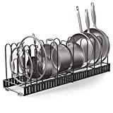 Vdomus extensible pot rack organizer with 4 DIY methods, length adjustable and max extended to 31 inches 13+ pans holder, black metal kitchen cabinet pantry pot lid holder