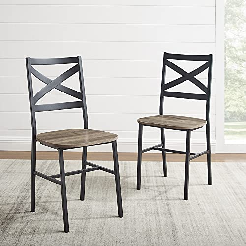 Walker Edison Person Rectangle Kitchen Table Modern Industrial Farmhouse Wood Dining Chairs, Set of 2, Grey Wash